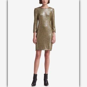 DKNY Long-Sleeve Sequin Dress